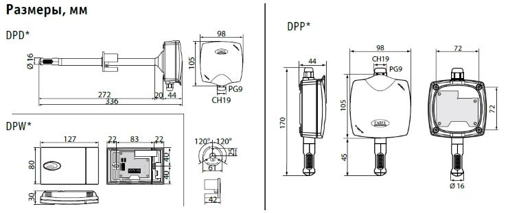22-Размеры датчиков DP Carel